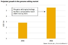 projected growth in genome editing market graph
